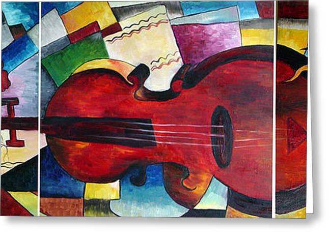 Greeting Card featuring the painting Love And Music Triptych by Dorothy Maier