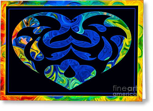 Love And Light Sharing Space Abstract Shapes And Symbols Artwork Greeting Card by Omaste Witkowski