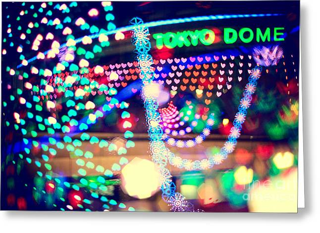 Love And Tokyo Dome With Colorful Psychedelic Heart Lights Greeting Card by Beverly Claire Kaiya
