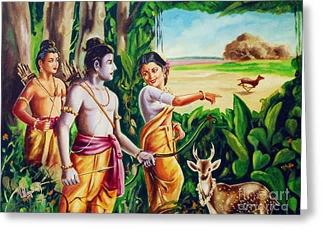 Greeting Card featuring the painting Love And Valour- Ramayana- The Divine Saga by Ragunath Venkatraman