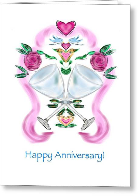 Greeting Card featuring the digital art Love Birds Anniversary by Christine Fournier