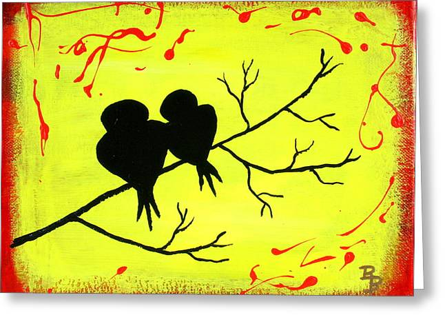 Greeting Card featuring the painting Love Birds Art by Bob Baker