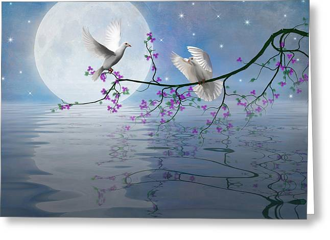 Love Birds By The Light Of The Moon-2 Greeting Card