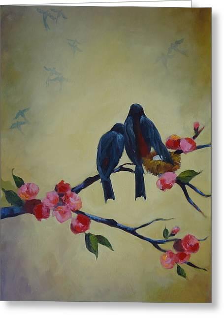 Love Birds Empty Nest Greeting Card by Kelley Smith