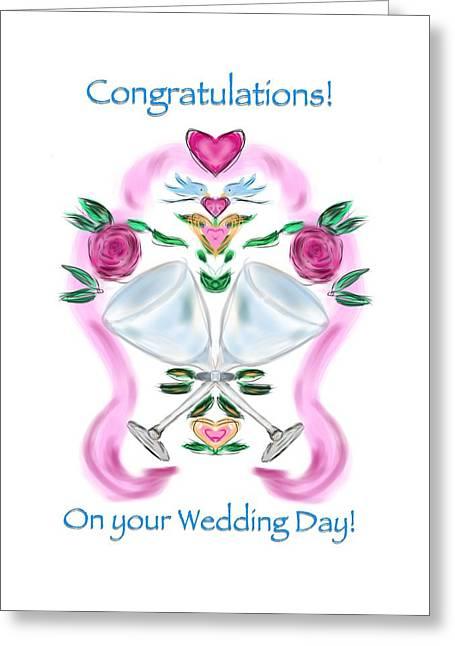 Greeting Card featuring the digital art Love Birds White Wedding by Christine Fournier