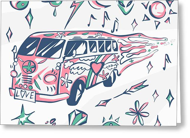 Love Bus Vector Poster. Hippie Car Greeting Card