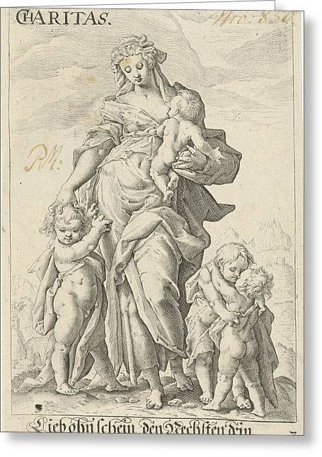 Love Caritas, Anonymous, Hendrick Goltzius Greeting Card