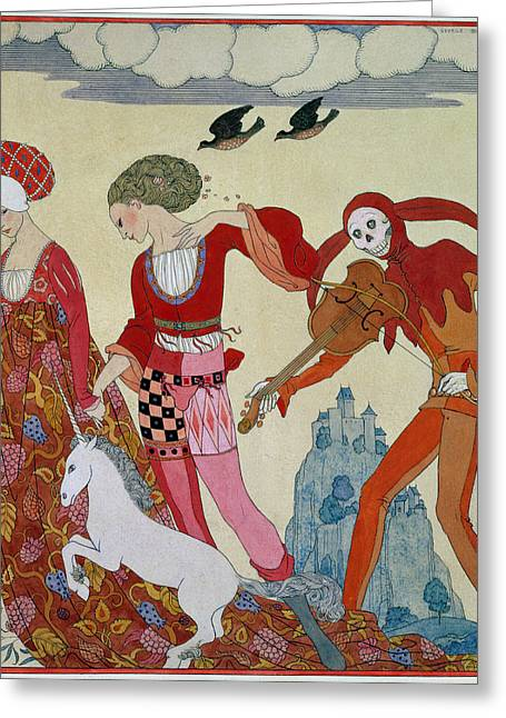 Love Desire And Death Greeting Card by Georges Barbier
