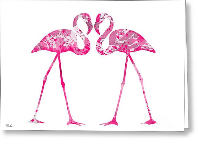 Love Flamingos Greeting Card by Watercolor Girl