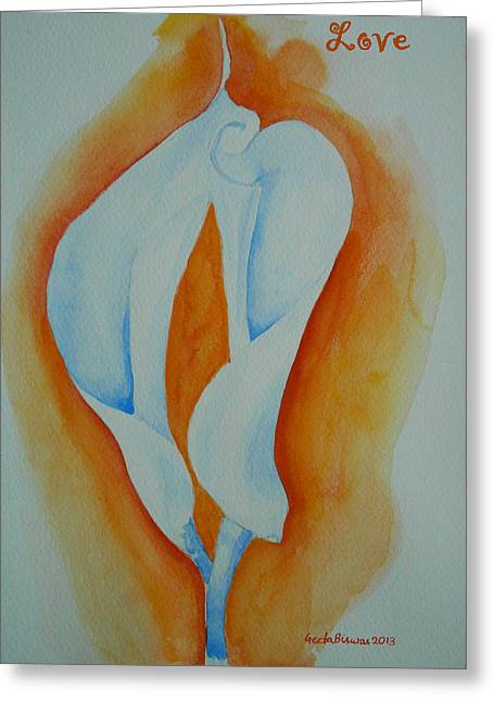 Calla Lilies Greeting Card by Geeta Biswas