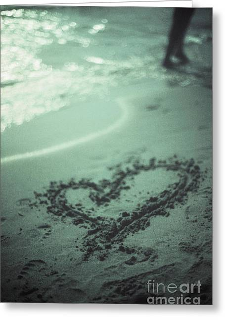 Love Heart Drawn On Beach Sand At Low Tide With Ocean Sea Greeting Card by Edward Olive