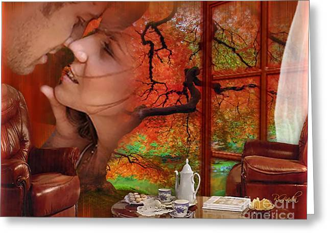 Greeting Card featuring the digital art Love In Autumn - Digital Art By Giada Rossi by Giada Rossi