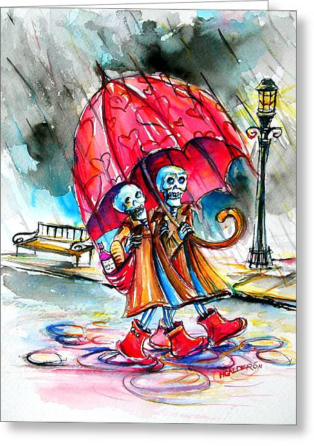 Greeting Card featuring the painting Love In The Rain by Heather Calderon