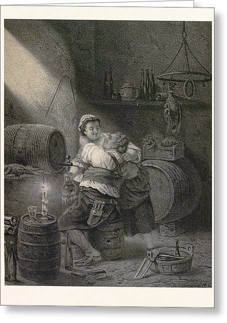 Love In The Winecellar, Barrel, Wine, Man, Woman, Male Greeting Card by English School
