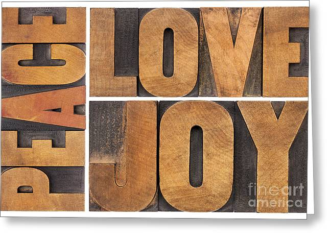 Love Joy And Peace Greeting Card by Marek Uliasz