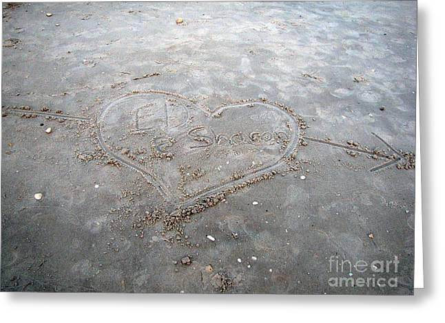 Love Letters In The Sand Greeting Card by Sharon Burger