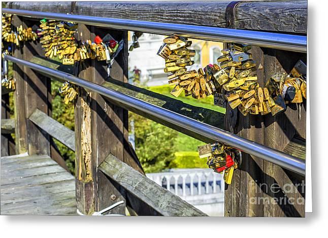 Love Locked On Bridge In Venice Greeting Card by Patricia Hofmeester