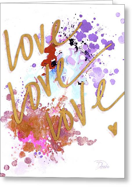 Love, Love, Love With Watercolor Greeting Card