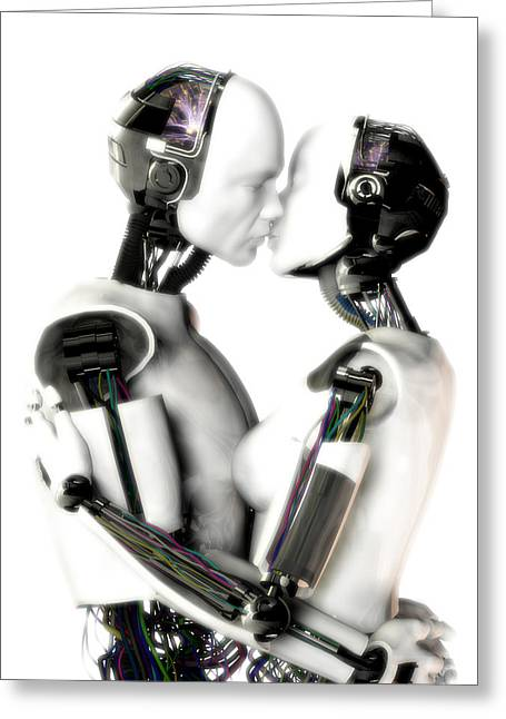 Love Machines - 1st Base Greeting Card by Frederico Borges