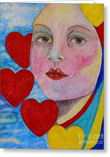 Greeting Card featuring the painting Love Me Do  by Jane Chesnut