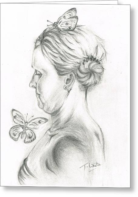 Greeting Card featuring the drawing Loves- Her Butterflies by Teresa White