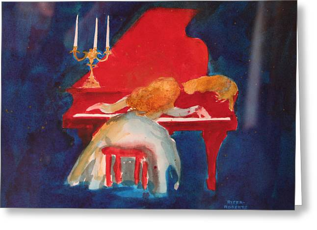 Love On The Red Piano Greeting Card by Eve Riser Roberts