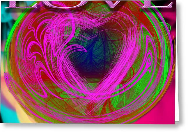 Greeting Card featuring the digital art Love Over Chaos by Clayton Bruster