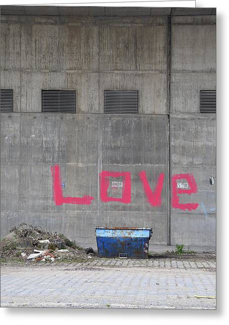 Love - Pink Painting On Grey Wall Greeting Card by Matthias Hauser