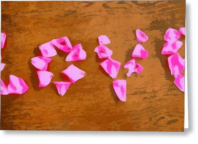 Love Rose Petals Pop Art Greeting Card by Dan Sproul