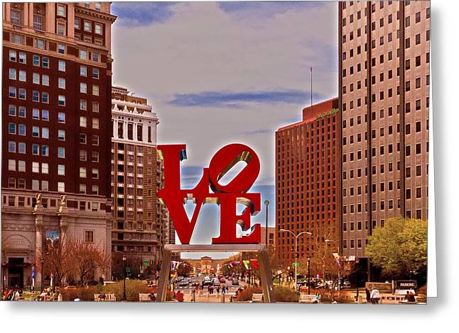 Love Sculpture - Philadelphia - 2 Greeting Card by Lou Ford