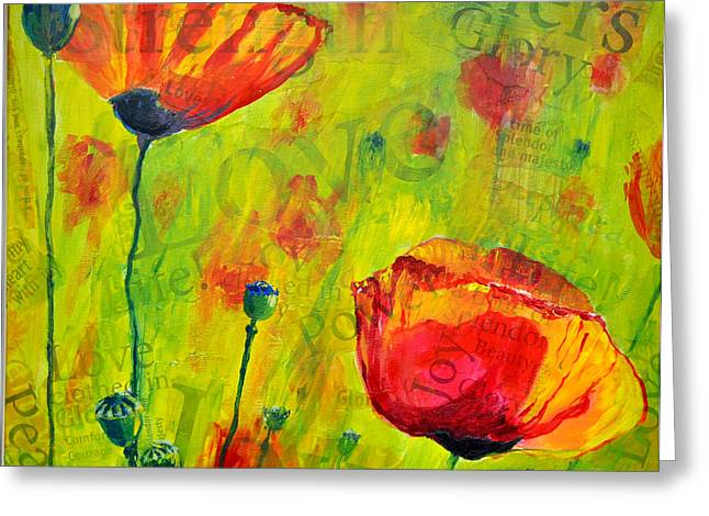 Greeting Card featuring the painting Love The Poppies by Lisa Fiedler Jaworski