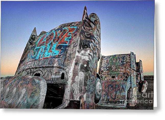 Love To All Cadillac Ranch Greeting Card