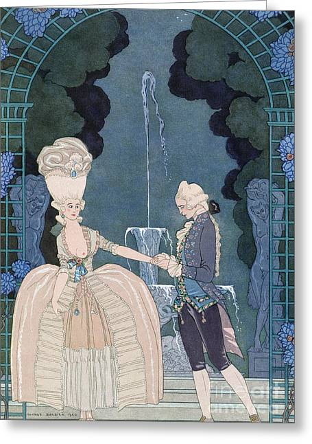 Love Under The Fountain Greeting Card by Georges Barbier