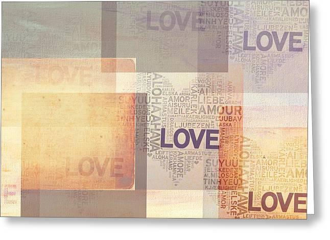 Love. Vintage. Creamy Pastel Greeting Card by Jenny Rainbow