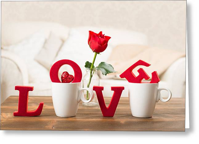 Love With Teacups Greeting Card by Amanda Elwell