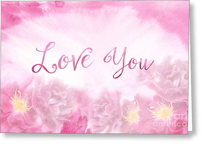 Love You Dark Pink Roses Watercolor Background Greeting Card