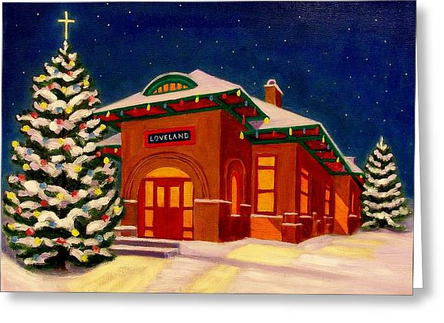 Loveland Depot At Christmas Greeting Card