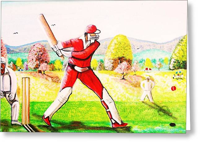 Lovely Day For Cricket. Greeting Card by Roejae Baptiste