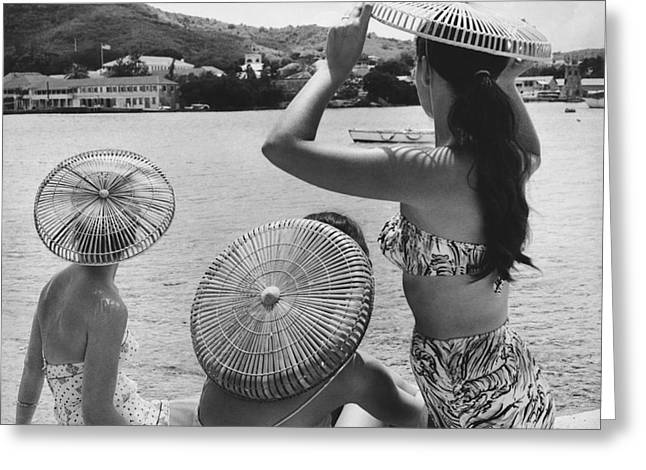Lovely Ladies In Cha Cha Hats Greeting Card by Fritz Henle