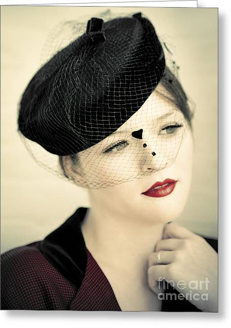 Lovely Lady With Veiled Hat Greeting Card by Diane Diederich