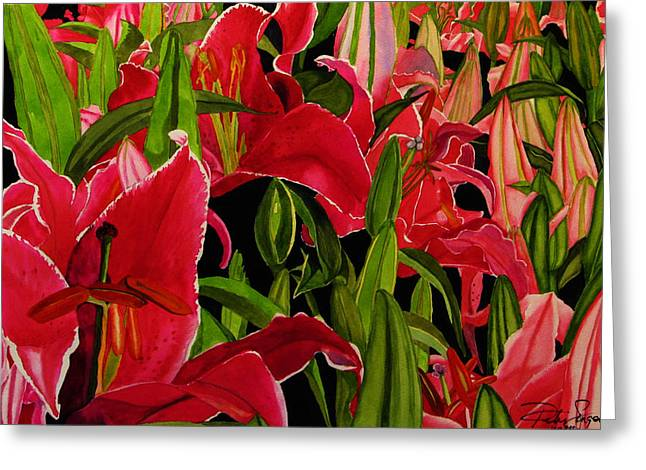 Lovely Lillies Greeting Card by Debi Singer