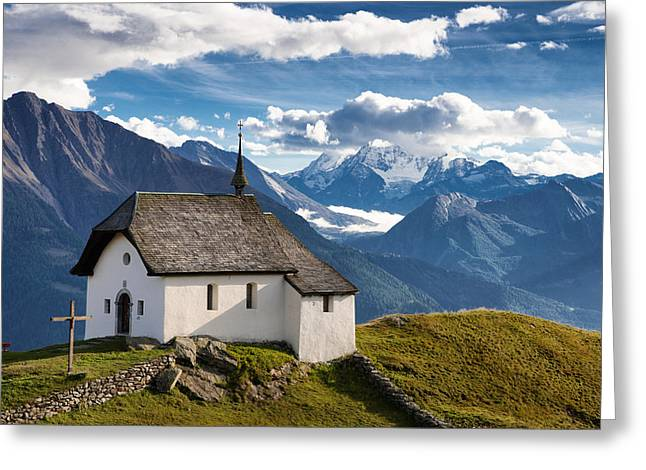 Lovely Little Chapel In The Swiss Alps Greeting Card