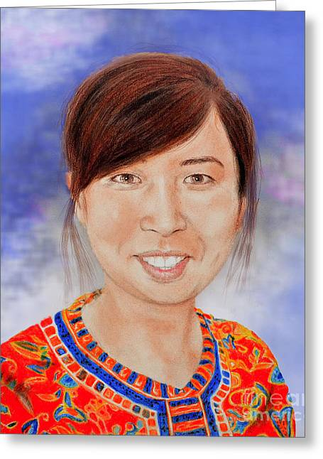Lovely Young Asian Woman Smiling Version II Greeting Card by Jim Fitzpatrick