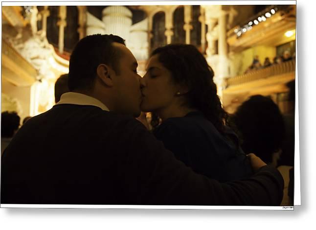 Lovers At Palau De La Musica Catalana - Barcelona Greeting Card by Madeline Ellis