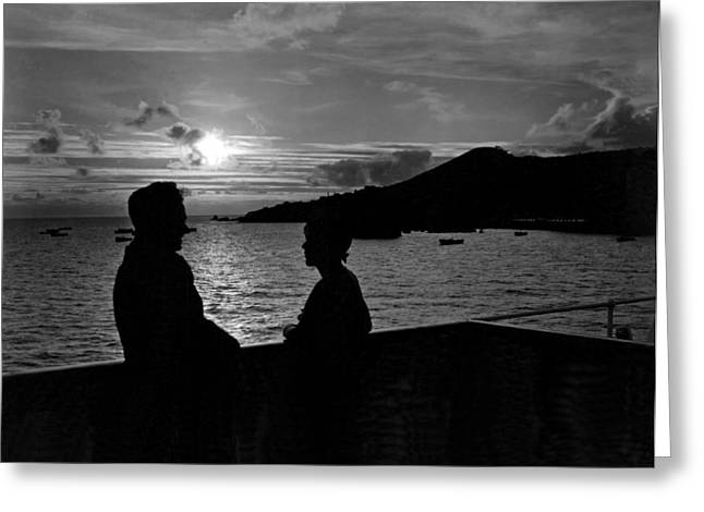Lovers Enjoy Romantic Sunset Greeting Card