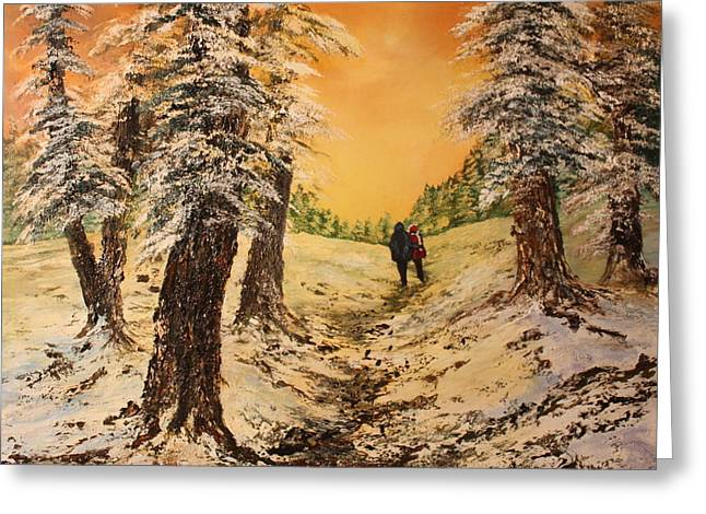 Lovers In The Snow Greeting Card by Jean Walker