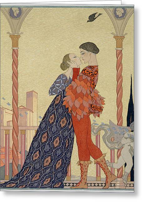 Lovers On A Balcony  Greeting Card by Georges Barbier