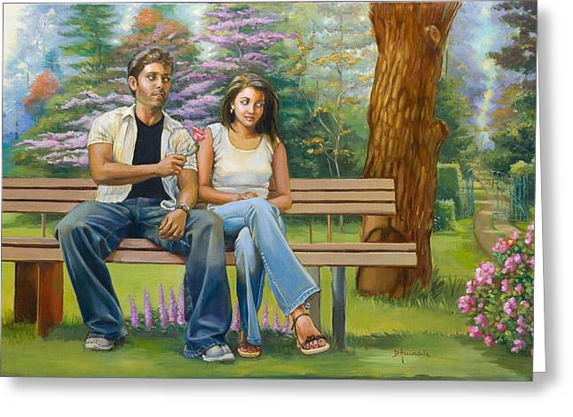 Lovers On A Bench Greeting Card by Dominique Amendola