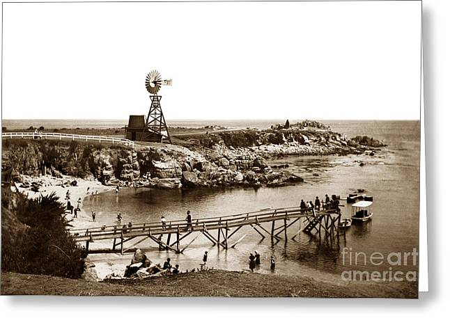 Lovers Point Beach And Old Wooden Pier Pacific Grove August 18 1900 Greeting Card