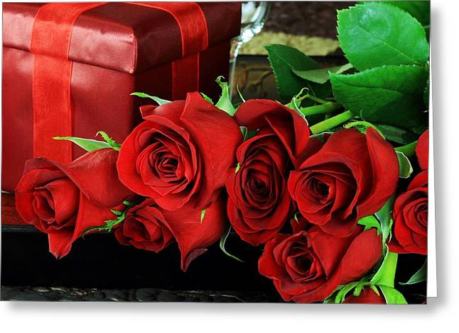 Lovers Roses For Christmas Greeting Card by Doc Braham